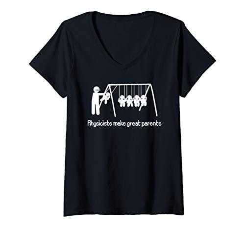 Damen Physiker sind tolle Eltern Wissenschaft Geek Nerd Papa Mama T-Shirt mit V-Ausschnitt