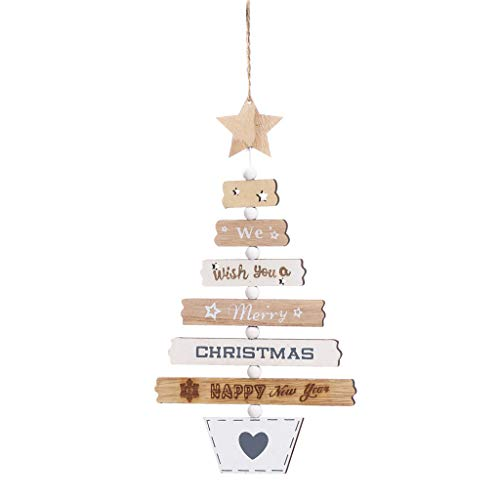 ZHIZHOU Christmas Ornaments 1 Piece Christmas Eve Box Wooden Engraving Gift Xmas Childrens Gift Christmas Wreath Snowflake Home Decorations Snowmobile