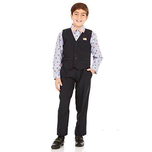 Vittorino Boys 4 Piece Suit Set with Vest Shirt Tie Pants and Hankerchief, Navy - Light Blue Floral, 16