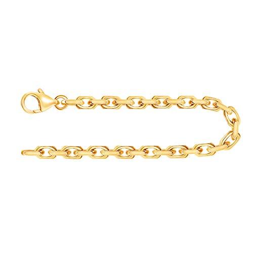 EDELWEISS Pulsera para Hombre de Oro Real de 3.8 mm, Pulsera Diamante del Anclaje Oro Amarillo 18 k 750, Pulsera de Oro con Sello, con сierre de mosquetón, Long. 18 cm, p. 16.3 g