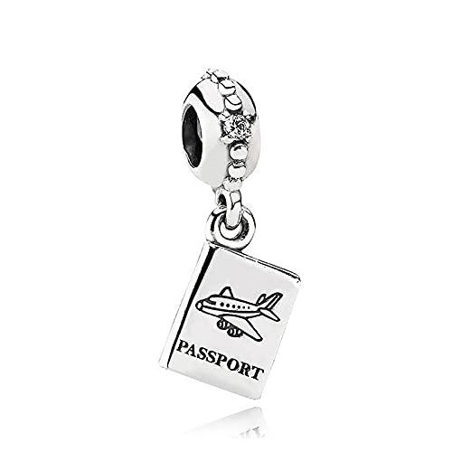 925 Plata Perla Real Aventura Espera Pasaporte Dangle Charm Moda Mujer Pandora Pulsera Y Brazalete Regalo Diy Joyería Regalo De Vacaciones Para Novia