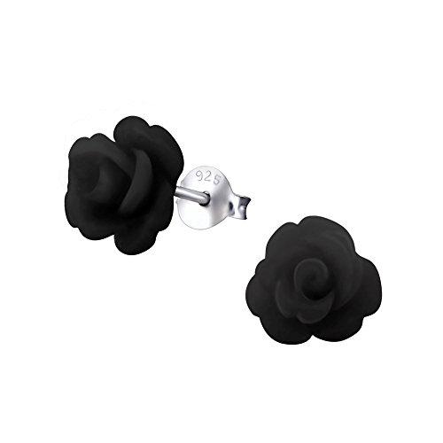 Laimons - Pendientes para mujer de plata de ley 925 en forma de rosa, color negro