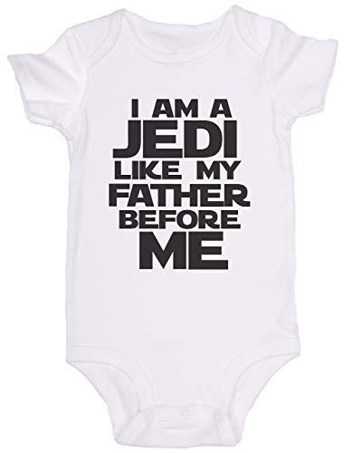 Promini Combinaison bébé mignonne – I am A Jedi Like My Pather Before Me Star Wars – Body bébé mignon en une seule pièce – Cadeau pour bébé - Blanc - 9 mois