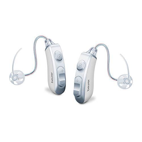 Beurer HA 85 digitale Paar-Hörhilfen mit sehr klarem Klang dank RIC-Bauweise, 2 Hörprogramme, 4 Aufsätze, Trocknungskapseln, Reinigungsbürste und Aufbewahrungsbox mit Ladefunktion