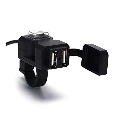 YMHAN® Moto Cargador del Adaptador de la Fuente de alimentación del zócalo for el teléfono MP4 GPS de la Motocicleta de Doble Puerto USB 12V Manillar Impermeable