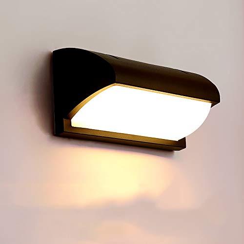 Zkicc Lámpara LED de 12W para exteriores Lámpara de pared de estilo japonés Lámpara de pared con luz de 30W Exterior blanco cálido Impermeable LED Iluminación para muros Lámpara de aluminio pa