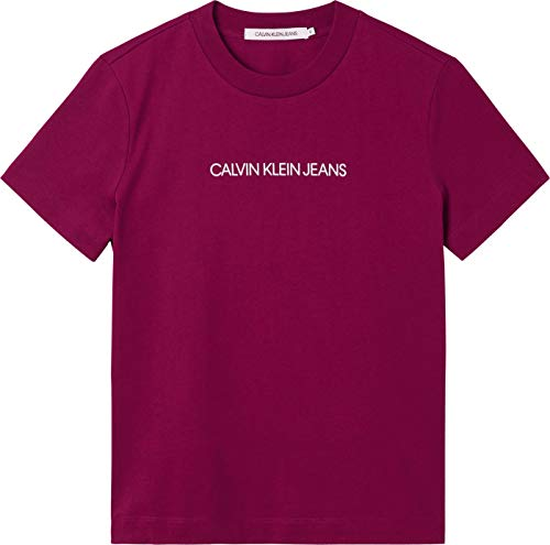 Calvin Klein Jeans Shrunken INSTITUTIONAL tee Camiseta, Clavo Oscuro Blanco Brillante, XS para Mujer