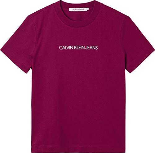 Calvin Klein Jeans Shrunken INSTITUTIONAL tee Camiseta, Clavo Oscuro/Blanco Brillante, XL para Mujer