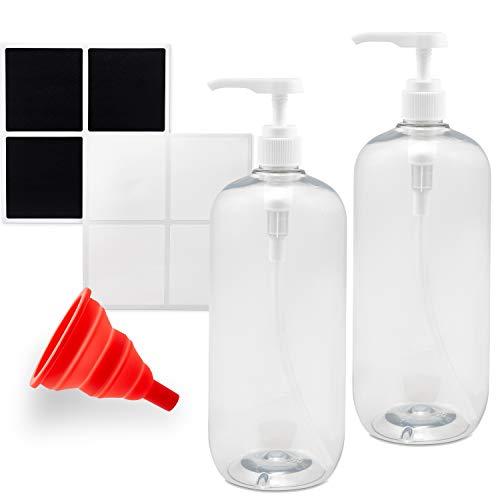 RR READY REFILLS Shampoo und Spülung Flaschen - 2er Set Pumpflasche Spender mit Silikontrichter und Etiketten - 1000ml nachfüllbarer Seifenspender Pumpe - vielseitig einsetzbar