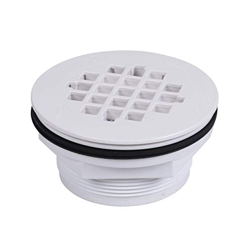 Oatey 42075 2 in. 101 PNC PVC No-Calk Shower White Plastic Bathroom Sink And Tub Drain Strainers, 2-Inch