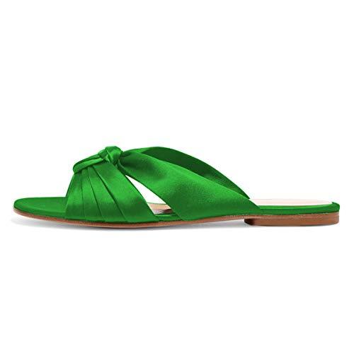 YDN Women Comfortable Cross Strap Satin Slide Sandals Low Heel Backless Slip On Summer Walking Flat Slippers Lime Green 9