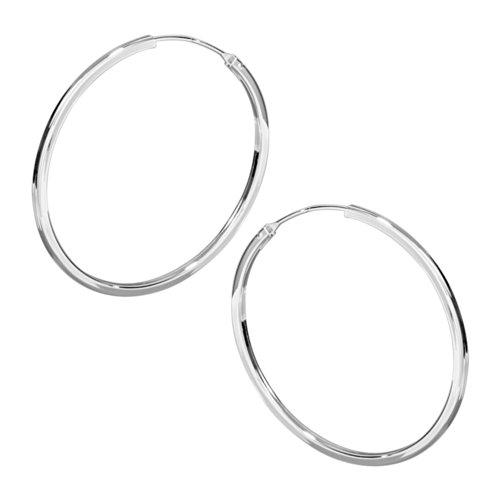 Vinani Creolen rund medium flexibel mit eckigen Kanten Sterling Silber 925 Ohrringe CMH