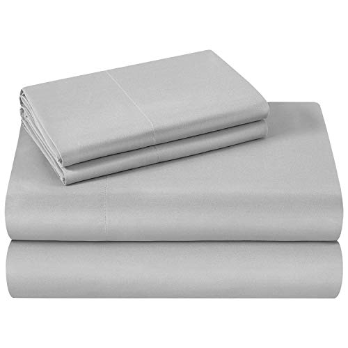 HOMEIDEAS Bed Sheets Set Extra Soft Brushed Microfiber 1800 Bedding Sheets - Deep Pocket, Wrinkle & Fade Free - 4 Piece(Queen,Light Grey)