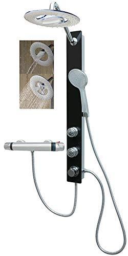 Glas Duschpaneel mit Thermostat Schwarz Duschsystem Regendusche mit 2 Massagedüsen für die Wandmontage