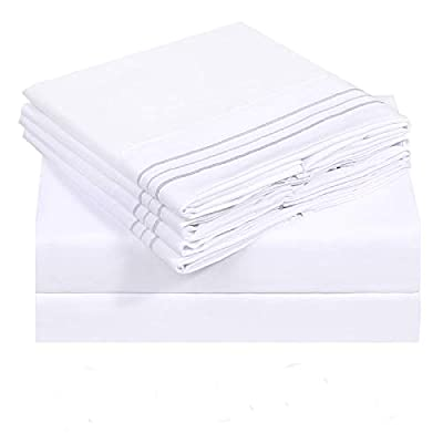 VERZEY Bed Sheet Microfiber 1800tc Soft Cozy Brushed Cooling Wrinkle, Tear, Fade-Resistant Deep Pocket(White, Queen, 6 Pieces)