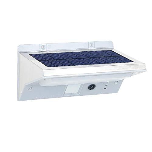 Projecteur solaire applique mural inox eclairage puissant LED blanc DERBY H16cm avec détecteur de mouvement 3 modes