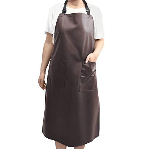 Wasserdichte Schürze Verstellbare Küchenschürze mit 2 Taschen für Männer & Frauen Wasser- und ölbeständig für Küche,Hundepflege, Restaurant, Garten und Grill (Braun)