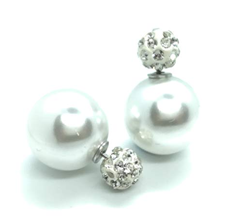 LeahMaria Herbst Mode Trend Shamballa Perle Damen-Schmuck Front-Back Ohrstecker Ohrringe Doppel-Kugel (weiß)