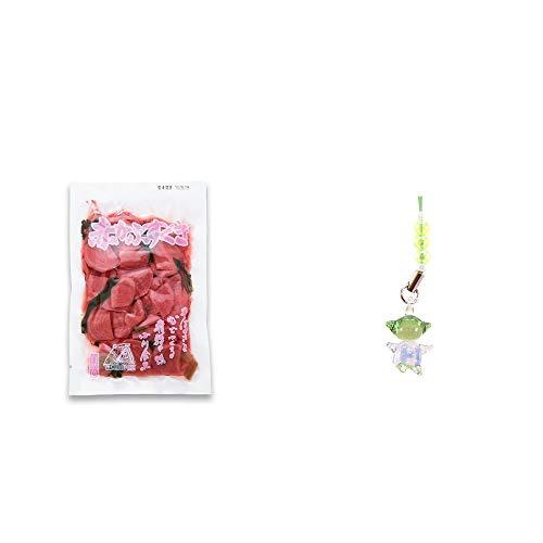 [2点セット] 赤かぶすぐき(160g)・ガラスのさるぼぼ 手作りキーホルダー 【緑】 /健康運・平穏・病気を寄付けない・健康祈願//