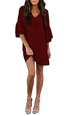 BELONGSCI Women's Dress Sweet & Cute V-Neck Bell Sleeve Shift Dress Mini Dress Wine Red