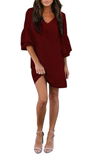 BELONGSCI Women's Dress Sweet & Cute V-Neck Bell Sleeve Shift Dress Mini Dress Wine Red