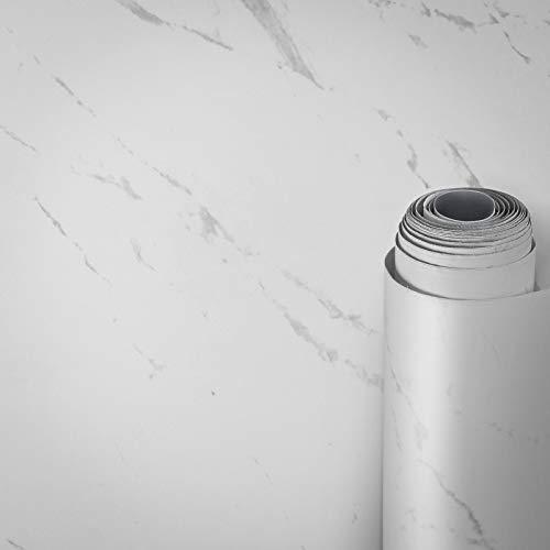 AWNIC Möbelfolie Marmor Weiß Matt Klebefolie Mamorfolie Selbstklebend Dekorfolie Fensterbank Küchenarbeitsplatte Schrankfolien Wasserfest 500x60cm