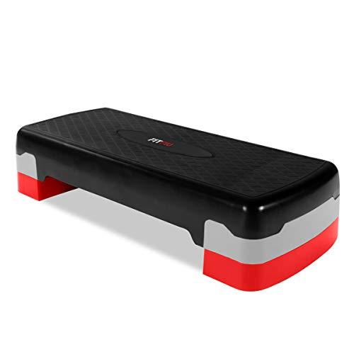 Fitfiu Fitness PS-150 - Plataforma step regulable en 2 alturas para ejercicio aerobico y cardio, fitness y gimnasia en casa, con base antideslizante
