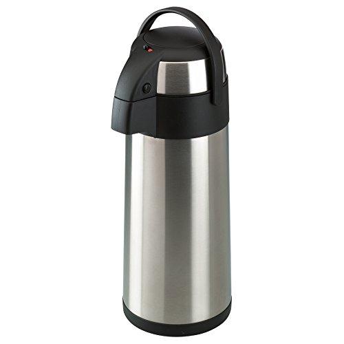 Ribelli Pumpkanne aus Edelstahl doppelwandig Fassungsvermögen - Isolierkanne mit Tragehenkel schwarz zum Warmhalten von Kaffee und Tee - Größe: ca. 5 Liter