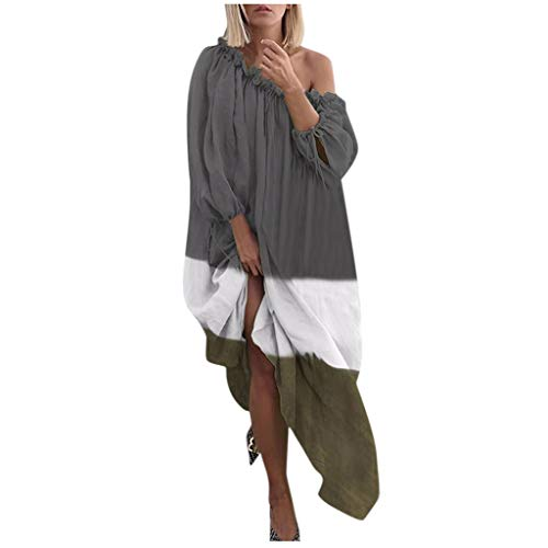 Yemenger Boho Maxi Dress for Women Plus Size Color Block Bishop Sleeve Pleated Print Casual Off Shoulder Loose Dress Gray