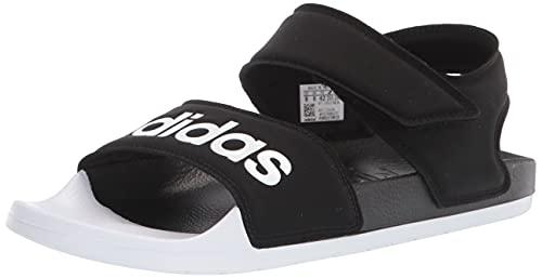 adidas unisex adult Adilette Sandal, Core Black/White/Core Black, 7 Women Men US