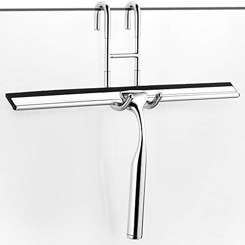 ecooe Edelstahl Duschwischer verlängert 31cm Duschabzieher Ohne Bohren Fensterabzieher mit Wandaufhänger Badezimmerwischer 2 Ersatzlippe Silikon Duschabzieher für Spiegel Fenster Glasreinigung