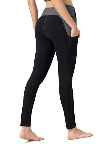ALONG FIT Leggings Damen mit Taschen, Nicht durchsichtig Sporthose Damen Dehnbar Yogahosen für Damen, Schwarz & Grau, S
