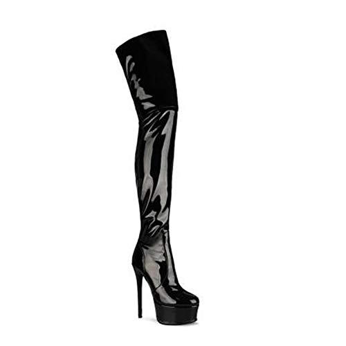 RHSMW - Stivali da donna sopra il ginocchio, stivali da festa in maschera, al ginocchio, con tacco a spillo da donna, alla coscia, stivali alti alla coscia., Nero , EU39