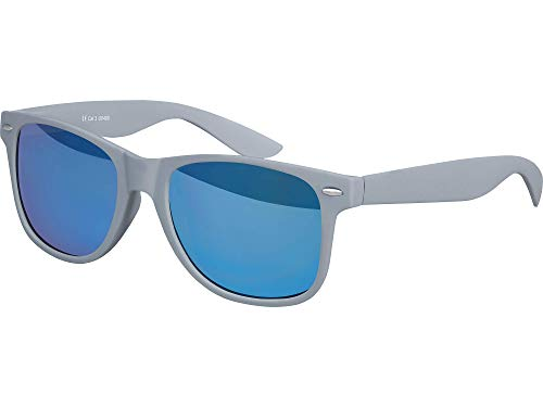 Balinco Hochwertige Nerd Sonnenbrille Rubber im Retro Stil Vintage Unisex Brille mit Federscharnier - 96 verschiedene Farben/Modelle wählbar (Grau - Blau verspiegelt)