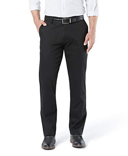 Dockers Men's Straight Fit Signature Lux Cotton Stretch Khaki Pant, Black, 34W x 32L