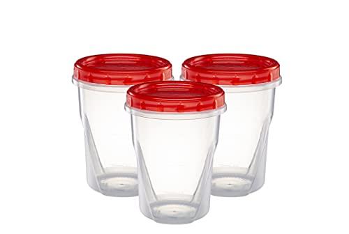 (32 onzas, 10 unidades) de tapas giratorias, parte inferior transparente con tapa de rosca roja, tapa giratoria, contenedores de...