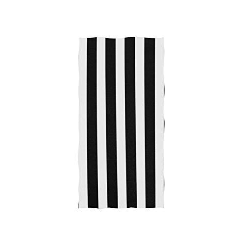 senob Toalla de Playa Rayas Blancas Negras Toalla de Playa de Microfibra 80 * 163cm