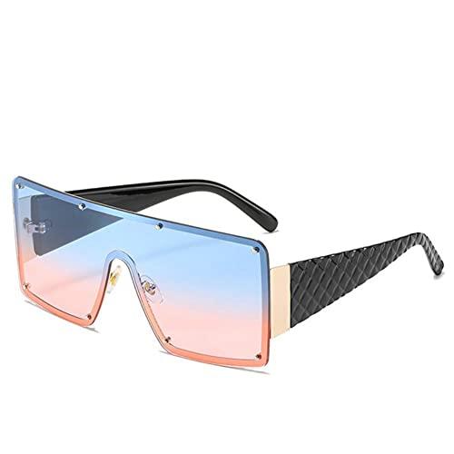 UKKD Gafas De Sol Mujeres Gafas De Sol Cuadradas De Gran Tamaño De Lujo De La Vendimia Mujeres De Moda Metal Metal Marco Grande Gapas De Sol Uv400-Blue Pink