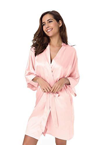 SIORO Damen Dressing Kleid-Seide Satin Damen Bademantel, Kimono Brautjungfer Robe für Hochzeitsfeier kurz, Shell Pink, M.
