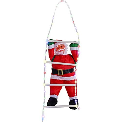 Ganmek Décorations De Noël d escalade De Père Noël sur Une Échelle De Corde, Lumières LED Glow Color avec Télécommande, Décoration Murale De Porte De Noël D intérieur Et D extérieur