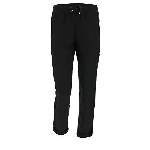 FREDDY Pantalon Classique avec Revers et Bandes en Dentelle sur Les côtés - Noir Métallisé - Medium