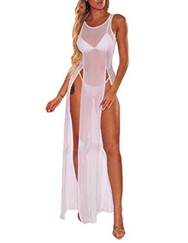 CHRONSTYLE Damen sehen durch Schiere Mesh ärmellose Seite hoch Geschlitzten Badeanzug vertuschen Strand Lange Maxi Tank Kleid Bikini vertuschen Top schwarz (Weiß, S)