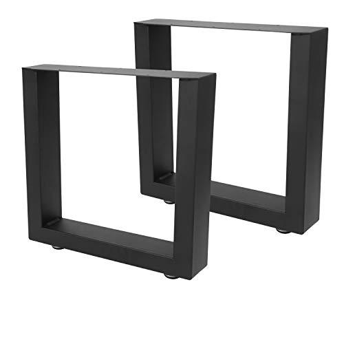 BMOT 2X Tischgestell 40 x 43cm Stahl Tischkufen, Schwarz pulverbeschichtet, einfache Montage Möbelfüße, für Esstisch, Schreibtisch, Couchtisch, Bank