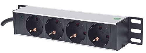 Intellinet 10' 4-fach Steckdosenleiste Schutzkontakt ( Power-LED ohne Überspannungsschutz 1,8 m Stromkabel 1 HE ) schwarz 714020