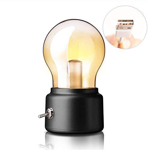 Creative Retro Bulb Lamp, EONHUAYU Vintage Edison Bulb Table Lamp Lampe de Bureau Rechargeable à LED d'USB, Lumière Rétro de Nuit Créatrice, économie D'énergie et élégante pour L'éclairage de Bureau de Chevet (Black)