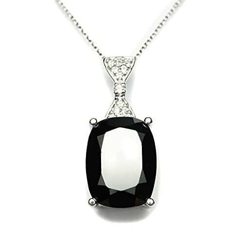 HIFLYER JEWELS Precioso colgante de espinela negra para collar con topacio blanco 925 colgante de plata esterlina colgante de diseño de espinela para mujeres y niñas regalos para hija joyería