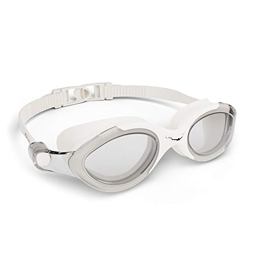 Swim Goggles Swimming Goggles for Adult Men Women Kids Youth Girls Boys Childrens Clear Optics SX (White Goggles + Silver case)