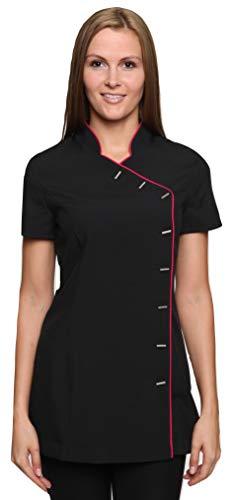 Mirabella Health & Beauty Damen Berufsbekleidung Kasack Iris Schwarz-Pink Gr. 34