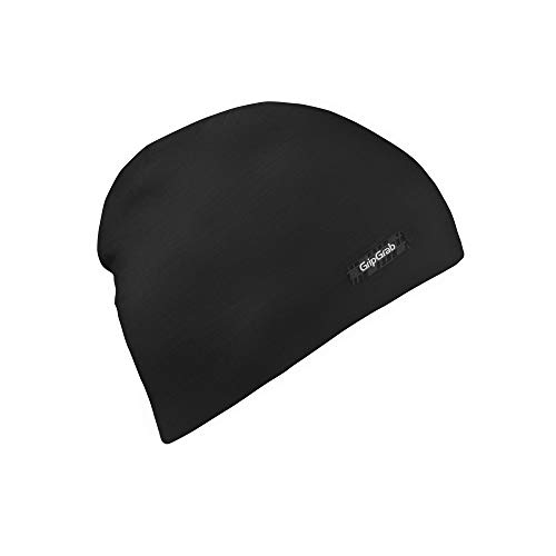GripGrab Unisex Leichter Merino Polyfiber Beanie Kopfbedeckung , Schwarz, M 57-60 cm EU