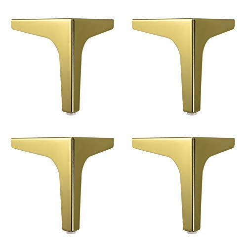 4x Patas para Muebles de Metal,Triángulo Patas de Mesa de Acero,Pies para Muebles para Renovar o Elevar Muebles,Patas de Repuesto para Armarios,Sofás,con Tornillos(gold130mm/5.1in)